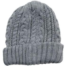 リバーシブルケーブルニット帽 ライト杢グレー