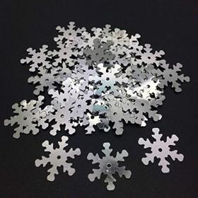 100個 18mm クリスマス 雪の結晶 ルーススパンコール パイエット ソーイング クラフト U ピック (カラー - シルバー)