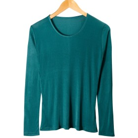CHARIXI レディーズ 100% シルク アンダー シャツ ロング スリーブ クルー ネック T シャツ グリーン L サイズ