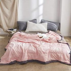 桜ピンク 春夏 和式 無地 清新風 水洗い ベッドスプレッド サマーキルト ベッドキルト 150200CM
