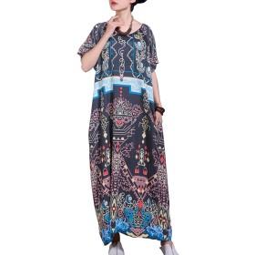 女性のフォークスタイルラグランスリーブプリントマキシドレス (色 : 黒, サイズ : ワンサイズ)