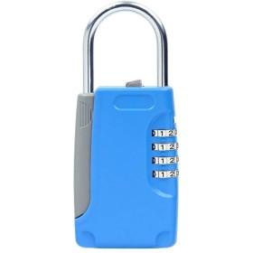 鍵収納ボックス 南京錠 暗証番号 4桁 ダイヤル式 ドアロック - 青