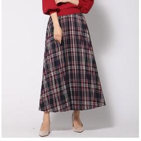 【J Lounge:スカート】【大きいサイズ】カラーチェックロングプリーツスカート