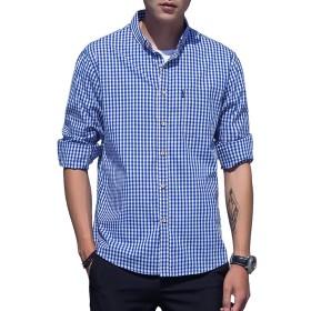 XXNA チェックシャツ メンズ 長袖 ギンガムチェック きれいめ ワイシャツ メンズ トップス 大きいサイズ 上着 格子縞 スポーツシャツ オックスフォード ボタンダウン ゴルフウェア 登山 アウトドア 開襟シャツ -shenlan-S