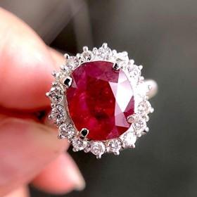 One&Only Jewellery【GIA鑑別書付】5ct 非加熱 ルビー 0.6ct ダイヤモンド Pt900 プラチナ リング 指輪 7月誕生石