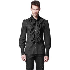 PUNK RAVEメンズスチームパンクレトロブラックフリルブラウスビクトリア朝のスタンドアップカラーシャツ長袖ゴシックブラウス (black,S)