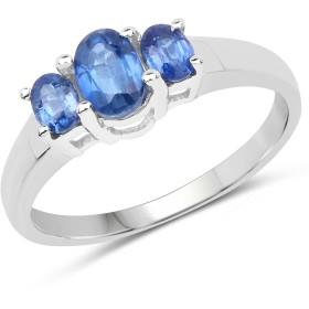 1.06カラット純正Kyaniteとホワイトダイヤモンド( I - J、i2- i3) 3ストーンリングSolid。925スターリングシルバー、ロジウムメッキ ブルー