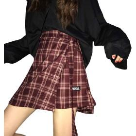 [MLboss]ショートパンツ レディース チェック柄 スカート ゆったり ファッション キュロット 韓国風 Aライン ホットパンツ 着痩せ 短パン ハイウエスト ショーパン 通学(Qワインレッド)