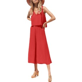 Sodossny-JP Women V Neck Long Bohemian Jumpsuits Trouser Casual Rompers Red S
