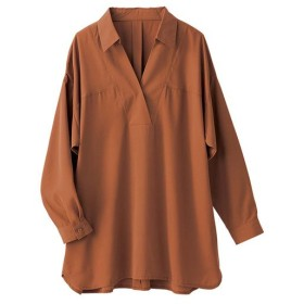 ジーラ 洗える衿抜きシャツチュニック レディース キャメル S 【GeeRa】