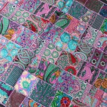 インド刺繍リボン 布 パッチワーク 敷物 ラグ ヴィンテージ エスニック 壁飾り 刺し子 ハンドメイドラリーキルト 紫(1)
