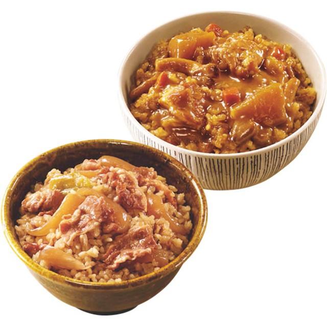 【ワケありの理由:在庫処分】イザメシ 出汁のきいた丼セット(牛丼・カレー丼) 2種・各1食 《残り60点!》