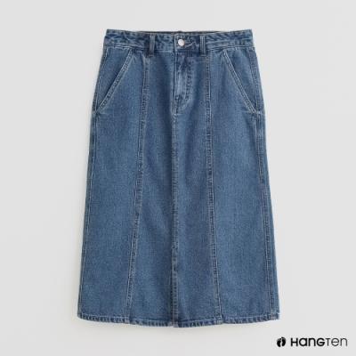 Hang Ten -女裝 - 簡約素色牛仔裙 - 藍