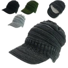ニット帽 - Smart Hat Factry <秋冬新作>裏ボア小ツバMIXニットキャスケット ヤング 帽子