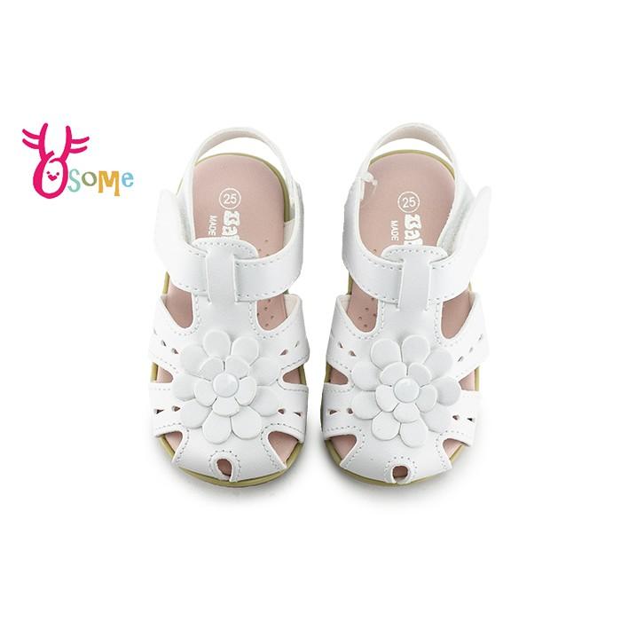 學步涼鞋 寶寶涼鞋 護趾涼鞋 真皮涼鞋 嬰兒涼鞋 0-2歲涼鞋 柔軟MIT台灣製 H6042 白色 OSOME奧森鞋業