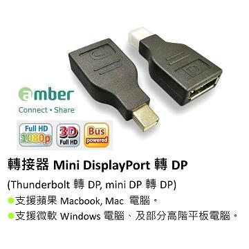 Amber mini DisplayPort 轉 DP 轉接頭(DPA11M)