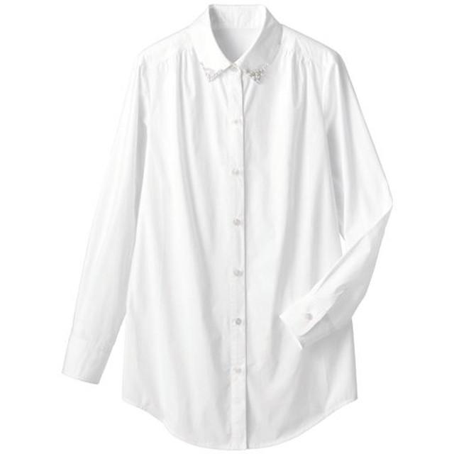 50%OFF【レディース】 衿ビジュー付ロングシャツ - セシール ■カラー:オフホワイト ■サイズ:S,M,L