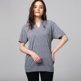 ジェット JET 総柄プリントキーネックTシャツ (グレー)