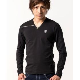 シルバーバレット VIOLA切替Vネック長袖Tシャツ メンズ ブラック XL 【SILVER BULLET】