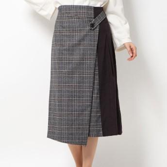 コムサイズム COMME CA ISM ラップ風スカート (ブラック)