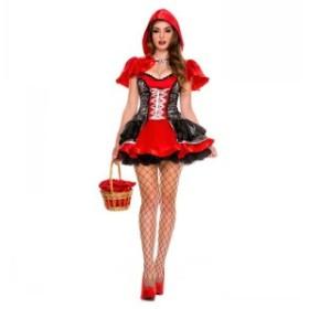 送料無料 ハロウィン コスチューム コスプレ 仮装 レディース 赤ずきん風 ダンス衣装 学園祭