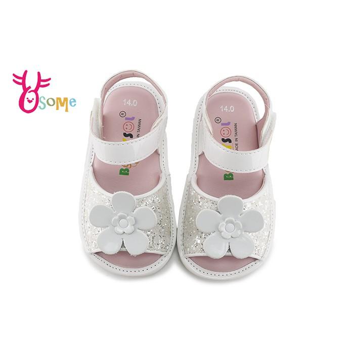 學步涼鞋 寶寶涼鞋 女嬰涼鞋 真皮涼鞋 嬰兒涼鞋 0-2歲涼鞋柔軟 MIT台灣製 H6063 白色 OSOME奧森鞋業