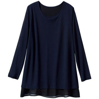 60%OFF【レディース大きいサイズ】 裾シフォンカットソーチュニック - セシール ■カラー:ネイビー ■サイズ:5L