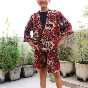 子供甚平・織 インド綿・ブロックプリント 花柄 自然染料染