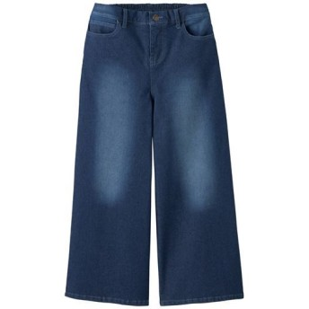 50%OFF【レディース】 ワイドクロップドジーンズ(吸汗速乾・軽量・接触冷感) - セシール ■カラー:インディゴ ■サイズ:S,M