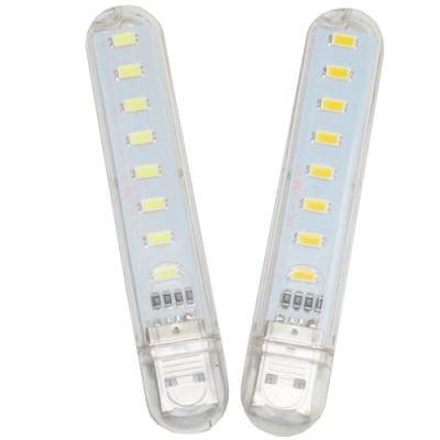 月陽超值2入USB超亮8LED4W燈檯燈閱讀燈小夜燈手電筒(HL82)