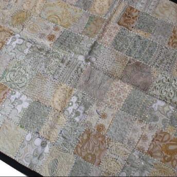 インド刺繍リボン パッチワーク 生地 はぎれ 布 敷物 ハンドメイド 銀 白 古布 アジア エスニック ヴィンテージ