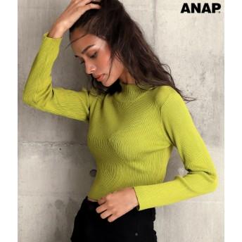ANAP(アナップ)ハイネッククロップドリブトップス