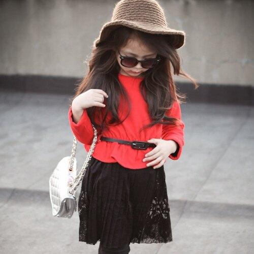 聖誕紅洋裝 拼接蕾絲下擺上衣 附腰帶 橘魔法 Baby magic 現貨 兒童 婚禮花童 女童 童裝【p0061178849756】