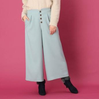 クチュール ブローチ Couture brooch 【WEB限定サイズ(LL)あり/手洗い可】フロントボタン ワイドミディパンツ (ライトグリーン)
