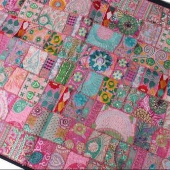 インド刺繍リボン パッチワーク キルト 布 ハンドメイド 手仕事 刺し子 ピンク 緑 ヴィンテージ アジアン エスニック