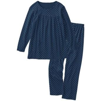 【レディース】 胸ギャザーのドット柄パジャマ(綿100%) - セシール ■カラー:ネイビーブルー ■サイズ:M,L,LL,3L,5L,6L
