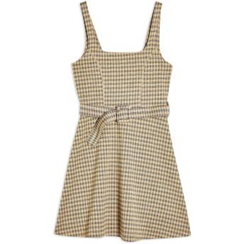 《セール開催中》TOPSHOP レディース ミニワンピース&ドレス オークル 6 ポリエステル 68% / レーヨン 30% / ポリウレタン 2% JACQUARD BELTED PINNY DRESS