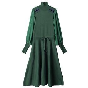 <PAMEO POSE/パメオポーズ> 【ご予約商品】Mandarin Knit Dress グリーン 【三越・伊勢丹/公式】