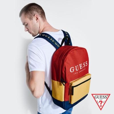 GUESS-男包-時尚撞色經典LOGO後背包-紅 原價2090