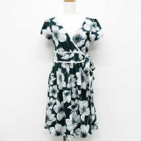 【中古】グローブ grove ワンピース ドレス ひざ丈 半袖 ギャザー フレア 花柄 リボン 緑 白 M レディース