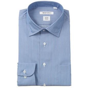 【THE SUIT COMPANY:トップス】【3BLOCK SHIRT】ワイドカラードレスシャツ ストライプ 〔EC・FIT〕