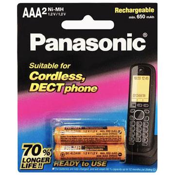 國際牌Panasonic 無線電話專用4號鎳氫充電電池 2入(BK-4LDAW2BTW)