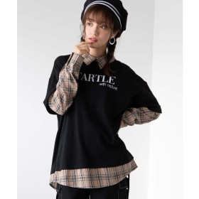 WEGO WEGO/シャツドッキングTシャツ(ブラック系)【返品不可商品】
