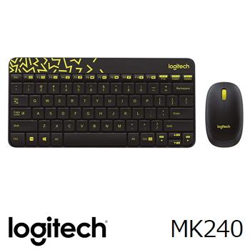 羅技Logitech MK240 NANO 無線鍵盤滑鼠組合 黑黃(920-008207)