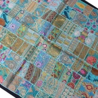 インド刺繍リボン パッチワーク 生地 はぎれ 布 花刺繍 キルトラグ 水色 金 ゴールド 手仕事 アンティーク アジアン