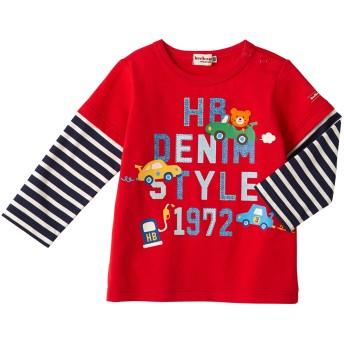 ミキハウス 【アウトレット】ビーンズくん 重ね着風長袖Tシャツ 赤