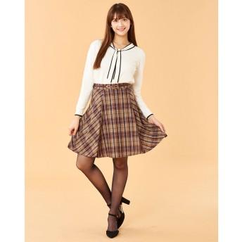 パターン フィオナ PATTERN fiona オリジナルチェック柄ベルト付きスカート (ベージュ)