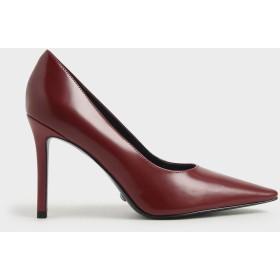 【2019 WINTER 新作】レザースティレットヒールパンプス / Leather Stiletto Heel Pumps (Red)
