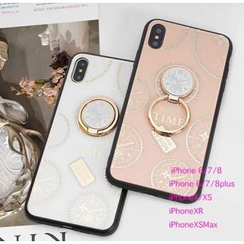 iPhoneケース iPhone11 Pro iPhoneXS Max iPhoneXR Phone8 iPhone7 iPhone6S スマホ 携帯 ケース カバー リング スタンド TIME