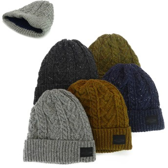 ニット帽 - Smart Hat Factry <秋冬新作>裏ボアBKワッペンネップケーブルニットワッチ ヤング 帽子